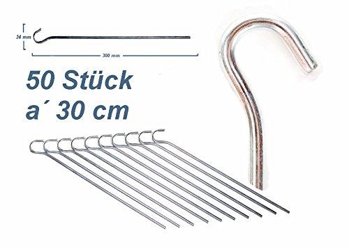 50 Stück / 30 cm Zeltheringe ZM - Outdoor Profi Equipment, Erdnagel Stahl verzinkt Felsnagel