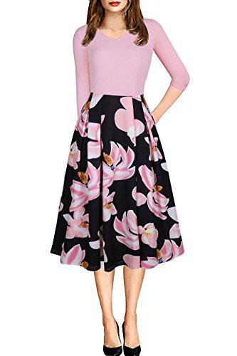 1950er Jahre Frauen Vintage V-Ausschnitt A-Linie Floral Retro 3/4 Ärmeltasche Print Abend Swing Party Dress (Rosa XL)