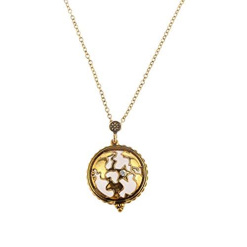 Medaillon-halskette Antike (MagiDeal Hohl weltkarte Locketanhänger Halskette Antike Messing)