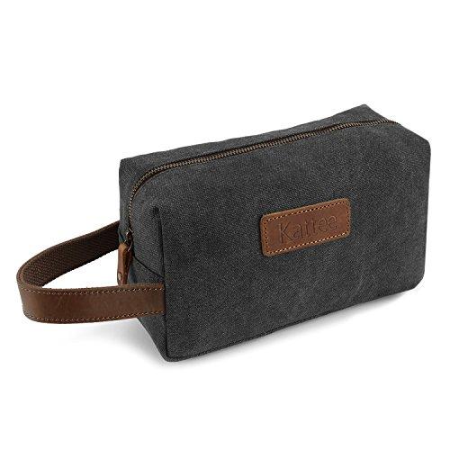 kattee-mens-toiletry-bag-canvas-cosmetic-makeup-organizer-shaving-dopp-case-for-traveldark-grey