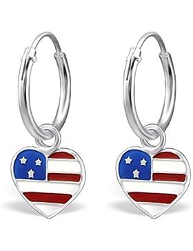 JAYARE Kinder-Creolen USA 925 Sterling Silber Emaille 20 x 8 mm mehrfarbig bunt Ohrringe