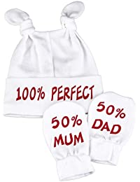 Spoilt Rotten - 100% Perfect Knot Hat & 50% Mum And 50% Dad Scratch Mits Baby Set