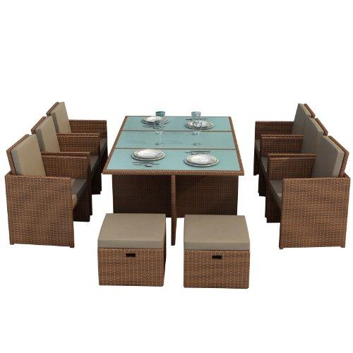 Gartenmoebel Bali hellbraun - Essgruppe Garten Moebel Tisch 6 Stühlen 4 Hocker incl. Glas Sitzkissen Garten Rattan Polyrattan Gartenausstattung Jet-Line