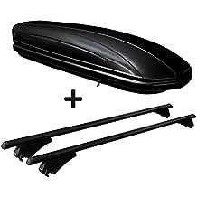 Dachbox schwarz glänzend VDP MAA320G günstiger Auto Dachkoffer 320 Liter abschließbar + Alu-Relingträger schwarz Dachgepäckträger für aufliegende Reling im Set für Seat Leon III ST ab 2012