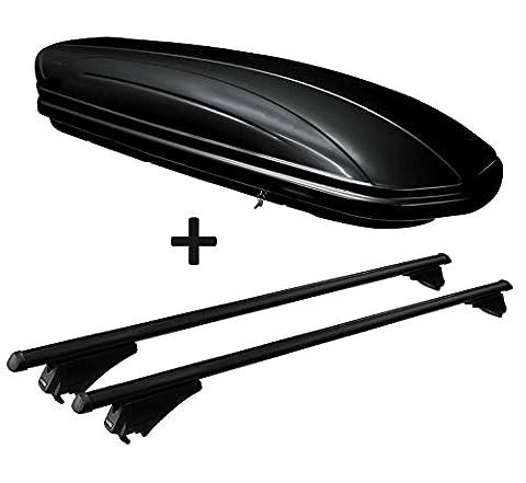 Dachbox schwarz glänzend VDP MAA320G günstiger Auto Dachkoffer 320 Liter abschließbar + Alu-Relingträger Dachgepäckträger für aufliegende Reling im Set für Opel Zafira (B) (Test 2008)