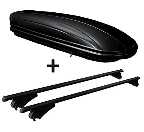 VDP Dachbox schwarz glänzend MAA320G günstiger Auto Dachkoffer 320 Liter abschließbar + Alu-Relingträger Dachgepäckträger für aufliegende Reling im Set für Hyundai ix35 ab 10