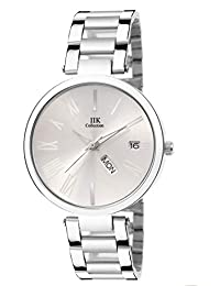 4b0ec547449 IIk Collection Watches Stainless Steel Chain Day and Date Analogue Silver  Dial Women s Watch