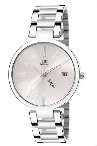 IIk Collection Watches Stainless Steel Chain Day and Date Analogue Silver Dial Women's Watch