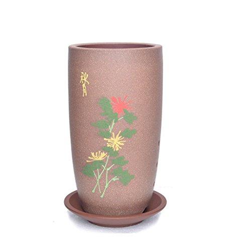 BOBE SHOP Pot de fleur en céramique ronde de 20CM avec le récipient de plante verte extérieure d'intérieur de style chinois ( Couleur : Rose )