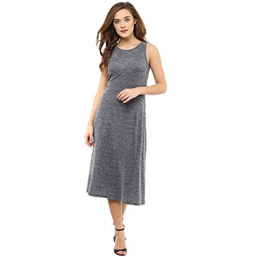 Femella Fashion's Grey Pique Sleeveless Midi dress( DS-2113068-1326-BWG-L )