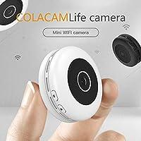 كاميرا Mopoq Wireless فائقة الصغر HD رؤية ليلية يمكن توصيلها بالهاتف الخلوي واي فاي عن بعد شبكة مايكروسمارت بشاشة المنزل (اللون: أبيض، المقاس: بطاقة ذاكرة 16G)