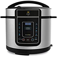 Pressure King Pro 5 Litre Electric Pressure Cooker - 12-in-1 Multi Cooker, Rice Cooker, Slow Cooker, Soup Maker Chrome (900 W)