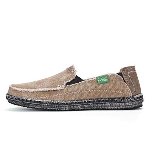 Men's Casual Canvas Loafers Shoes Moccasins Driving Hollow Out Leisure Slip-on Khaki US 10=EU 44 -