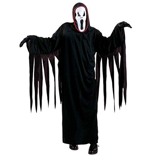 Amakando Kinder Scream Kostüm Geist Kinderkostüm schwarz M 140 cm 8-10 Jahre Gespenst Halloweenkostüm Horrorkostüm Sensenmann Geisterkostüm Ghost Gevatter Tod Grim Reaper Horror Verkleidung Halloween (Kinder Scream Kostüm)