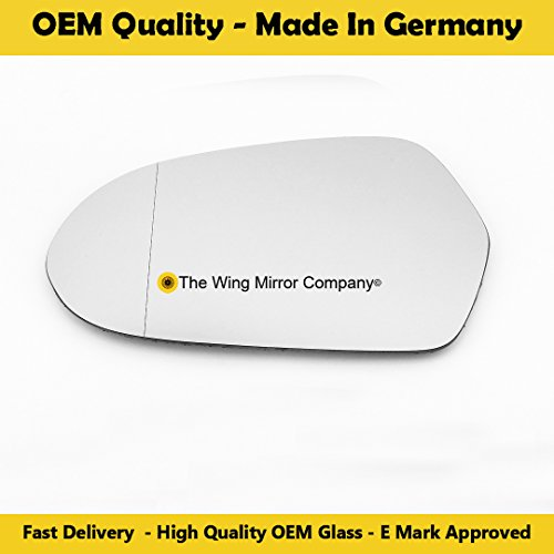 Left Hand Passenger side Clip on Heated Convex Door//Wing Mirror For AdQ5 2008 May to 2017
