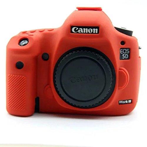 Weich Silikon Gummi Kamera Schutz Tasche Schale Case Abdeckung für Nikon EOS 5D Mark III 5D35D III 5DS 5dsr Digital Kamera Rot Zoom + Focuw
