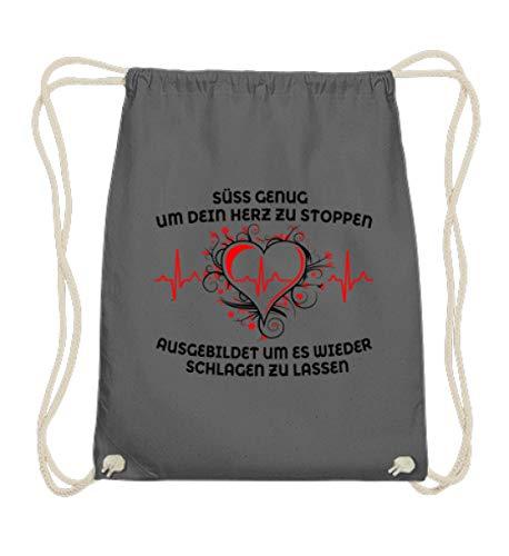 Krankenschwester Shirt · Geschenk für Pflegekräfte · Spruch: Süß genug (schwarze Variante) - Baumwoll Gymsac