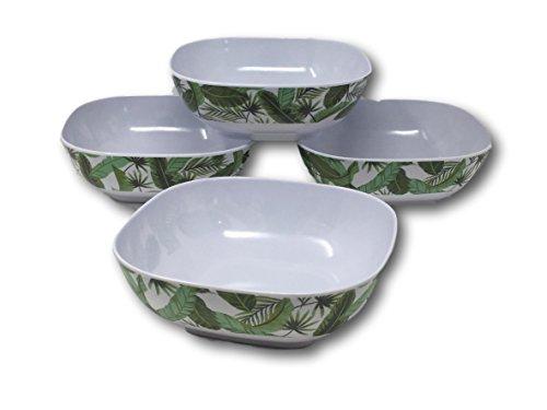Bamboo Leaf Bowl (Sommer Designs Melamin Servieren Teller, Tabletts, Schalen-Blumen, Bambus, Ananas, Flamingo & Strand Meer Thema Set of 4 Square bowls Bamboo Leaves)