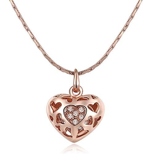 Ciondolo da donna in oro rosa 18/platino placcato cristalli pavimentazione Hollow taglio cuore Ciondolo Catena Bizantina, 44,5+ 5Stretched collane, 18ct rosa oro, colore: Pink, cod. 2030469400b