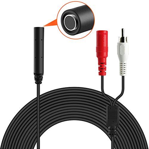 Dericam Hochempfindliches Mikrofon für CCTV/IP-Kamera/DVR/NVR, Mini-CCTV-Tonabnehmermikrofon, externer Ton der Kamera, 18-M-Kabel, inklusive Power Splitter, ohne Netzteil, AP1-2B, Schwarz -