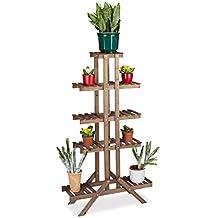 Relaxdays–Soporte para flores con 5niveles, madera, interior flor accesorio de, multiestantes, HxWxD: ca 142,5x 83x 28,5cm), color marrón oscuro