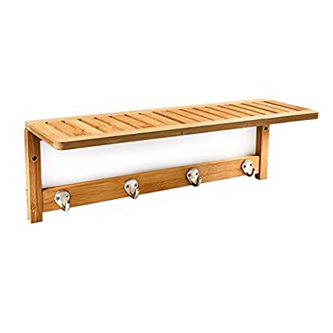Relaxdays Wall-Mount Towel Rack, Size: 18 x 50 x 16 cm, w/ 4 Hooks, Bamboo, Natural Brown