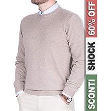 f8fd0e49fcaf2 Maglione Uomo Puro Cashmere 100% Lana Pullover a Manica Lunga con Girocollo  Soffice e Morbido