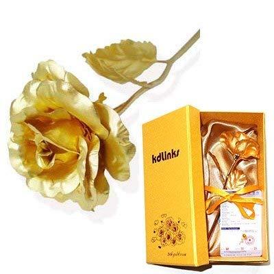 kdlinks 24K 15,2cm Gold Folie Rose, Best Valentine 's Day Geschenk, Handarbeit und Last Forever.-Double Größe rose flower + Gratis Geschenk Karte (Box-ideen Für Valentines Jungen)