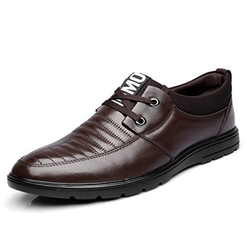 GRRONG Chaussures Mode Homme Chaussures En Cuir Marron Noir brown