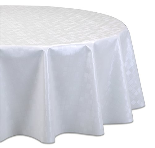 OVAL RUND ECKIG Motiv u. Größe wählbar, Tischdecke abwischbar (Rund 140 cm Reliefdruck - Damask Weiß) (Weiße Runde Tischdecke)
