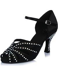 HIPPOSEUS Zapatos de La Danza de Salón de Baile/Zapatos de Baile con Diamante de Imitación/Zapatos Latinos de el Satén Mujeres,Modelo ESAF435