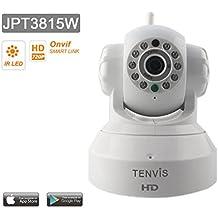 Tenvis JPT3815W Cámara IP de seguridad en HD 720p 1280x720 H264 - Alarma detección de movimiento - Motorizado - Visión Nocturna - Bidireccional sonido - Aplicación teléfono y Manual en Español