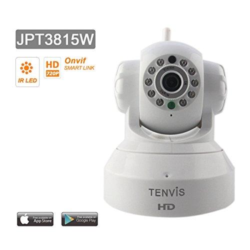 Tenvis Jpt3815W IP Überwachungskameras Kamera HD H264 720p - Motorisiert - Nachtsicht - Anwendung Telefon/Handbuch in DEUTSCH - Einfache Einrichtung - Alarm (E-Mail, FTP-Server) - Bidirektionaler Ton - ONVIF