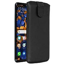 mumbi Sac en cuir véritable compatible avec Huawei P30 Lite, (Languette avec fonction de rétraction, aide à l'extraction), noir
