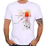 IZHH Herrenmode Shirt, Neuheit Print Tees Weißes Hemd Kurzarm Atmungsaktive T-Shirt Outdoor Bluse Basic Shirt(Weiß,X-Large)