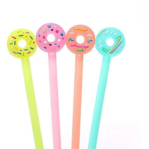 material para la escuela kawaii JUNGEN 4PCS Bolígrafo de gel de Lindo Forma de Donuts Pluma de Gel kawaii Oficina y Papeleria Artículos, Color aleatorio