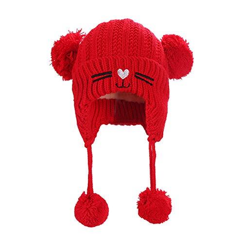 Lumanuby 1x Niedlich Alpaka Gehörschutz Hut für Kinder ca. 0.5~4 Jahre Alt Plüsch Innenfutter Gestrickt Warmer Hut für Jungen und Mädchen im Herbst und Winter für Tägliches Tragen size 20*23CM (Rot) -