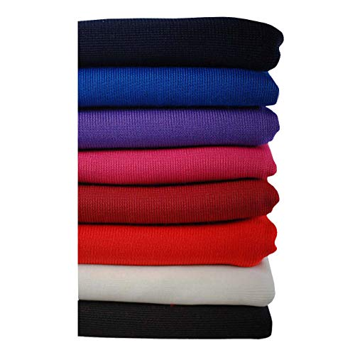 Neotrims Polyester Stretch Knit Rib Fabric to Trim Garments, Waistbands, Cuffs and Welts or for Outerwear. Light Weight Jersey Material for Apparel, Resilient, Sports Look, Light Sheen: Black, Royal Blue, Navy, Purple, White, Wine, Cerise and Red Colours -