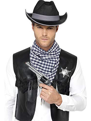 Europäische Wild Kostüm Mann - Luxuspiraten - Herren Männer Western Cowboy Kostüm Set mit Weste in Lederoptik, Halstuch und Abzeichen, perfekt für Karneval, Fasching und Fastnacht, L/XL, Schwarz