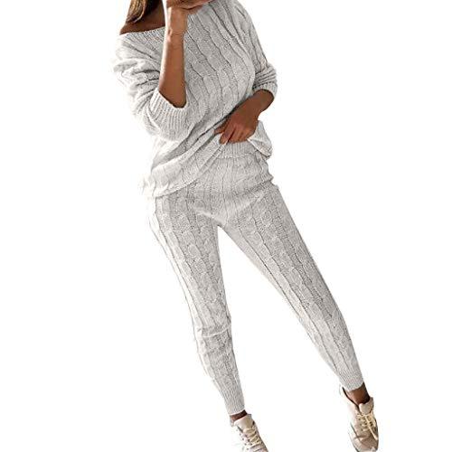 Elsta 2 Stück Set Outfits Damen Freizeitanzug Gestrickt Sportanzug Jogginganzug Schulterfrei Langarmshirt Warm Oberteile Paket Hüfte Hosen Beiläufig Outfit Sport bekleidung(Weiß,XL) -