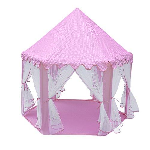 Civigroupey Zelt Prinzessin, Spielzelt für Kinder Mädchen Prinzessin Schloss Zelt Rosa Spielhaus für Mädchen Pop up Zelt Lesesaal Prinzessin Castle Spielzelt für Outdoor, Groß