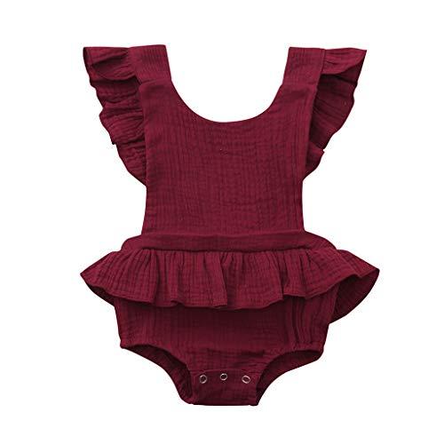 squarex Neugeborene Säuglingsbaby-Mädchen Sleeveless Normallack-Süßigkeitfarbe Rüschen Rückkreuzspielanzug-Bodysuit-Outfits