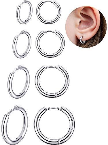 4 Paia Orecchini a Cerchio in Acciaio Inossidabile Anelli Labbro Naso Orecchini a Cerchio di Cartilagine di Piccole Dimensioni per Uomini e Donne Favori Accessori, 8 mm, 10 mm, 12 mm, 14 mm