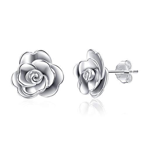 Rose Ohrstecker 925 Sterling Silber Hypoallergen 3D Rose Blume Ohrstecker Schmuck Geschenk für Damen Mädchen