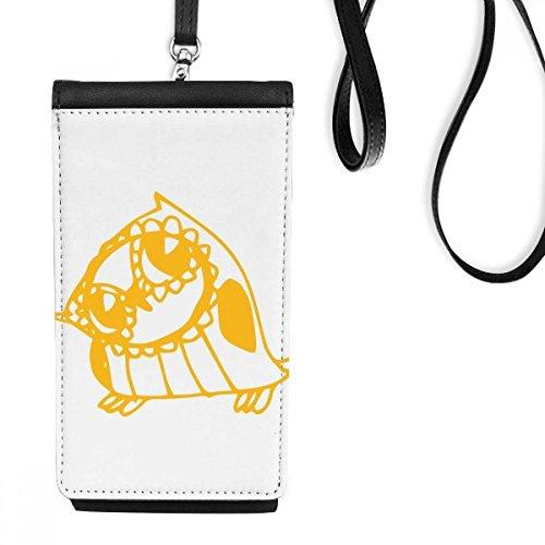 DIYthinker Karikatur-Nette Tilt Vogel schützen Tier-Haustier-Liebhaber-Leder-Smartphone hängende Handtasche Schwarze Phone Wallet Geschenk Tilt Smartphone