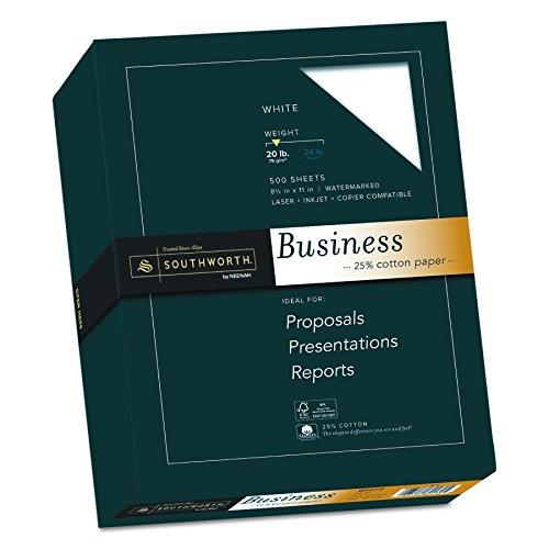 25% Cotton Business Paper, White, 20 lbs., Wove, 8-1/2 x 11, 500/Box, FSC