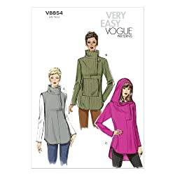 Vogue Patterns V8854 Misses' Tunic Sewing Template, Size 0Y (XSM-SML-MED)
