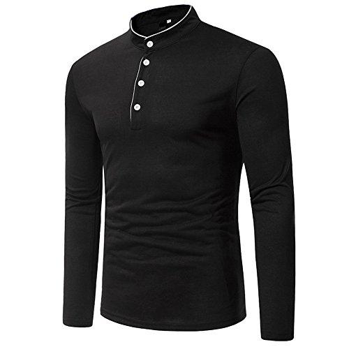 VECDY Herren Bluse,Herbst und Winter Langarm Oxford Formelle beiläufige Anzüge Slim Fit T-Shirt Kleid Shirts Bluse Top Lässiges Oberteil Einfarbiges T-Shirt Mode Pullover Sweatshirt