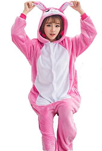Ovender® Kigurumi Pigiami Animali Unisex Donna Uomo Costume Carnevale Halloween Cosplay Unicorno Orsetto Coniglio Lupo Pinguino Panda Festa Party Zoo Onesies Tuta Anime (Large, Coniglio Rosa)