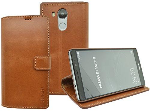 Suncase Book-Style (Slim-Fit) für Huawei Mate 8 Ledertasche Leder Tasche Handytasche Schutzhülle Case Hülle (mit Standfunktion und Kartenfach) cognac